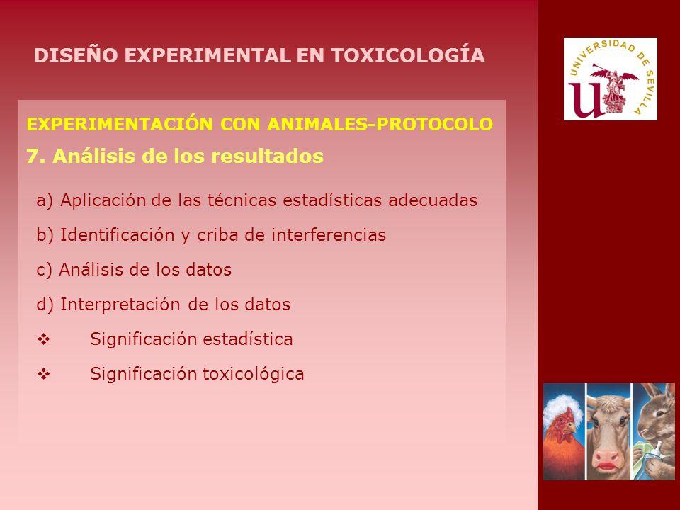EXPERIMENTACIÓN CON ANIMALES-PROTOCOLO 7. Análisis de los resultados a) Aplicación de las técnicas estadísticas adecuadas b) Identificación y criba de