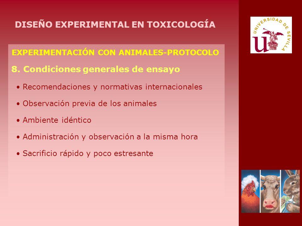 EXPERIMENTACIÓN CON ANIMALES-PROTOCOLO 8. Condiciones generales de ensayo Recomendaciones y normativas internacionales Observación previa de los anima