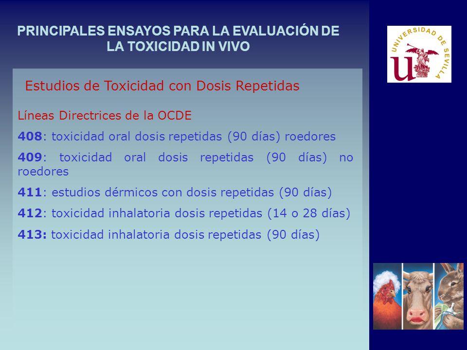 PRINCIPALES ENSAYOS PARA LA EVALUACIÓN DE LA TOXICIDAD IN VIVO Estudios de Toxicidad con Dosis Repetidas Líneas Directrices de la OCDE 408: toxicidad oral dosis repetidas (90 días) roedores 409: toxicidad oral dosis repetidas (90 días) no roedores 411: estudios dérmicos con dosis repetidas (90 días) 412: toxicidad inhalatoria dosis repetidas (14 o 28 días) 413: toxicidad inhalatoria dosis repetidas (90 días)
