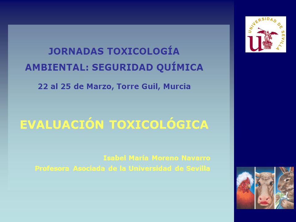 JORNADAS TOXICOLOGÍA AMBIENTAL: SEGURIDAD QUÍMICA 22 al 25 de Marzo, Torre Guil, Murcia EVALUACIÓN TOXICOLÓGICA Isabel María Moreno Navarro Profesora