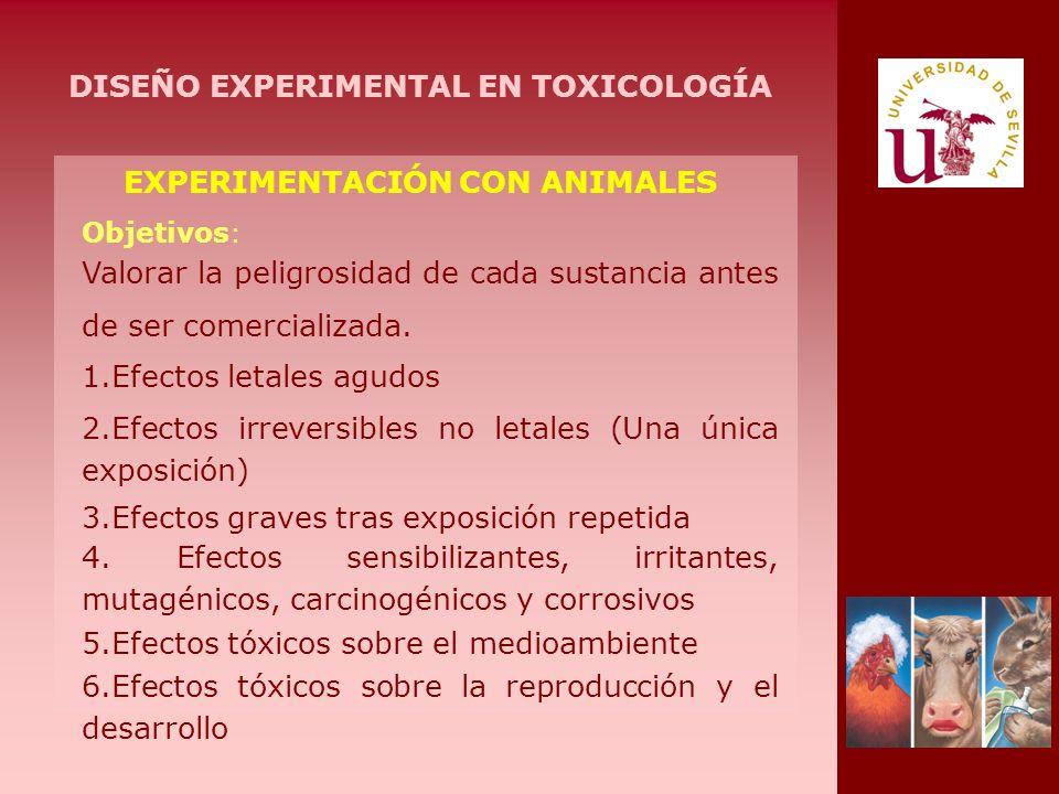EXPERIMENTACIÓN CON ANIMALES Valorar la peligrosidad de cada sustancia antes de ser comercializada. Objetivos : 1.Efectos letales agudos 2.Efectos irr