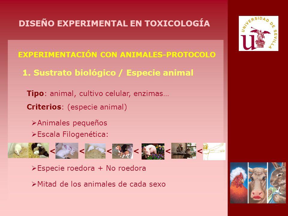 EXPERIMENTACIÓN CON ANIMALES-PROTOCOLO 1. Sustrato biológico / Especie animal Tipo: animal, cultivo celular, enzimas… Criterios: (especie animal) Anim