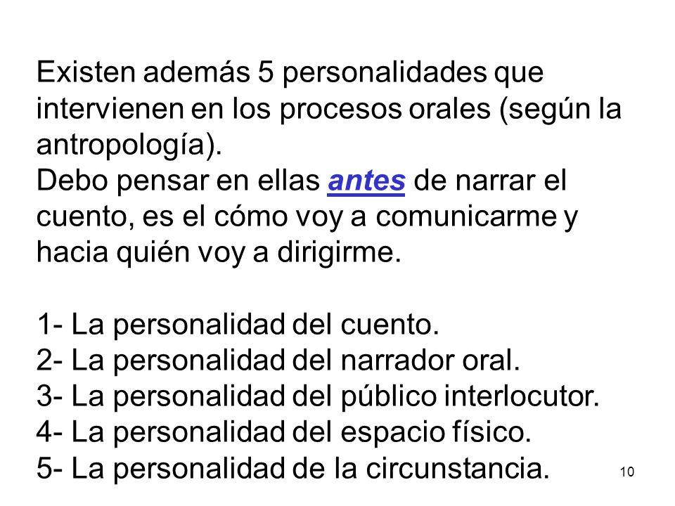 10 Existen además 5 personalidades que intervienen en los procesos orales (según la antropología).