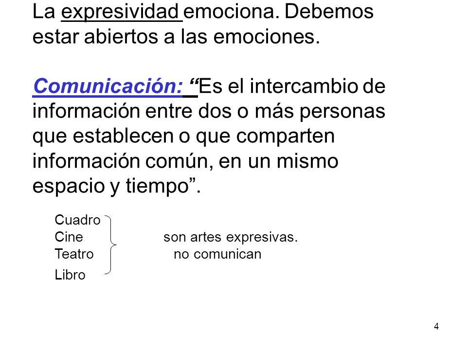 4 La expresividad emociona.Debemos estar abiertos a las emociones.