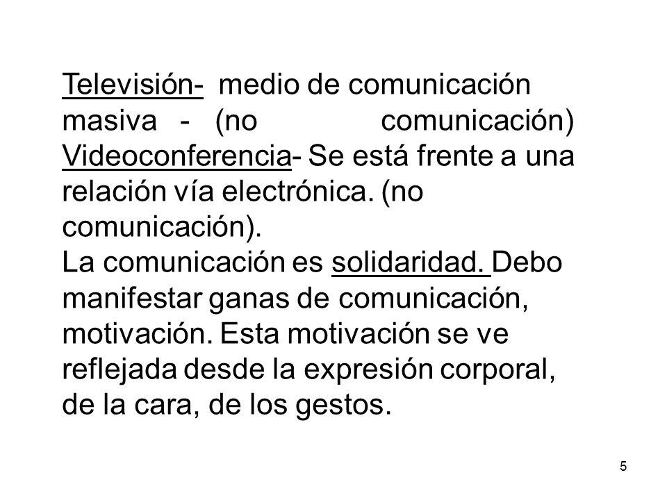 5 Televisión- medio de comunicación masiva - (no comunicación) Videoconferencia- Se está frente a una relación vía electrónica.