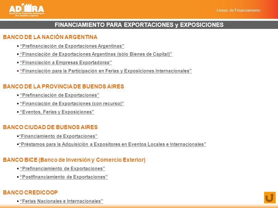 Líneas de Financiamiento FINANCIAMIENTO PARA EXPORTACIONES y EXPOSICIONES BANCO DE LA NACIÓN ARGENTINA Prefinanciación de Exportaciones Argentinas Financiación de Exportaciones Argentinas (sólo Bienes de Capital) Financiación de Exportaciones Argentinas (sólo Bienes de Capital) Financiación a Empresas Exportadoras Financiación para la Participación en Ferias y Exposiciones Internacionales BANCO DE LA PROVINCIA DE BUENOS AIRES Prefinanciación de Exportaciones Financiación de Exportaciones (con recurso) Eventos, Ferias y Exposiciones BANCO CIUDAD DE BUENOS AIRES Financiamiento de Exportaciones Préstamos para la Adquisición a Expositores en Eventos Locales e Internacionales BANCO BICE (Banco de Inversión y Comercio Exterior) Prefinanciamiento de Exportaciones Postfinanciamiento de Exportaciones BANCO CREDICOOP Ferias Nacionales e Internacionales