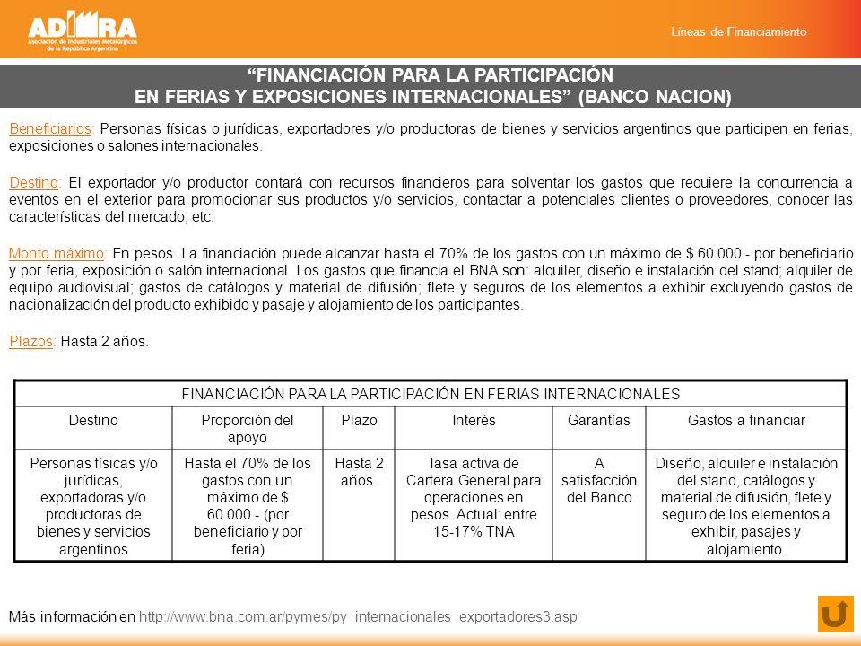 Líneas de Financiamiento FINANCIACIÓN PARA LA PARTICIPACIÓN EN FERIAS Y EXPOSICIONES INTERNACIONALES (BANCO NACION) Beneficiarios: Personas físicas o jurídicas, exportadores y/o productoras de bienes y servicios argentinos que participen en ferias, exposiciones o salones internacionales.