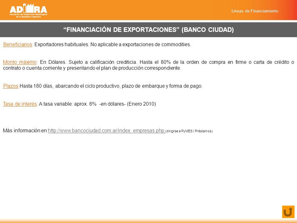 Líneas de Financiamiento FINANCIACIÓN DE EXPORTACIONES (BANCO CIUDAD) Beneficiarios: Exportadores habituales.