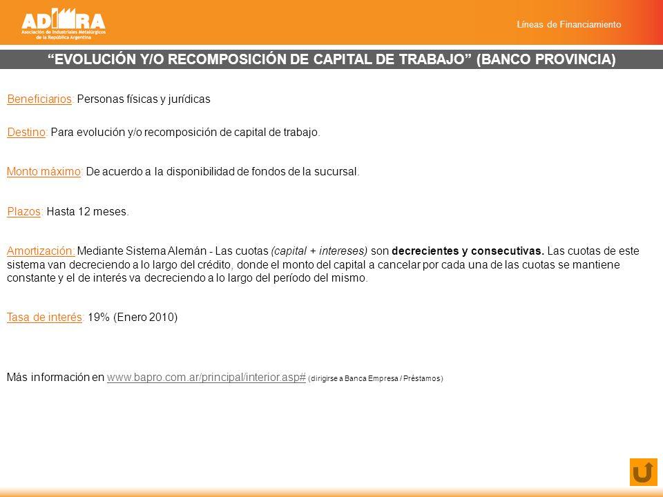 Líneas de Financiamiento EVOLUCIÓN Y/O RECOMPOSICIÓN DE CAPITAL DE TRABAJO (BANCO PROVINCIA) Beneficiarios: Personas físicas y jurídicas Destino: Para evolución y/o recomposición de capital de trabajo.
