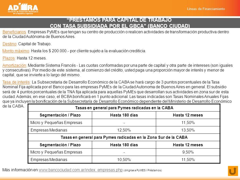 Líneas de Financiamiento PRÉSTAMOS PARA CAPITAL DE TRABAJO CON TASA SUBSIDIADA POR EL GBCA (BANCO CIUDAD) Beneficiarios: Empresas PyMEs que tengan su centro de producción o realicen actividades de transformación productiva dentro de la Ciudad Autónoma de Buenos Aires.