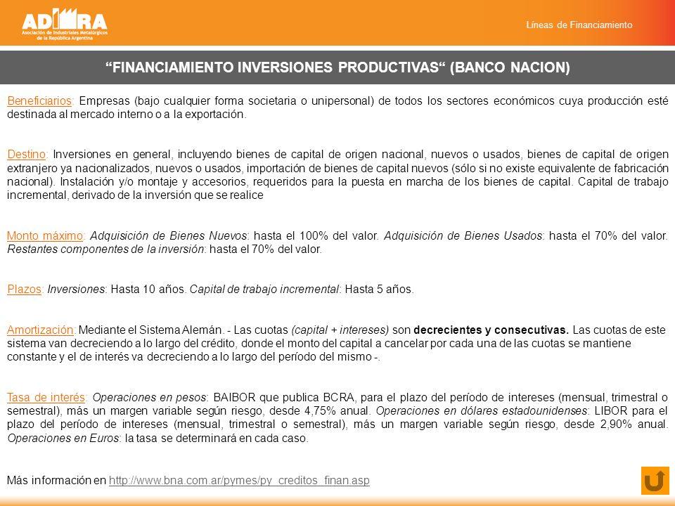 Líneas de Financiamiento ADQUISICIÓN DE MÁQUINA SEGURA (CONVENIO SSN) (BANCO CREDICOOP) Beneficiarios: Empresas PyMEs Destino: Adquisición de máquina nueva de reemplazo (excluida maquinaría agrícola preferentemente de origen nacional, para garantizar la indemnidad de los trabajadores).