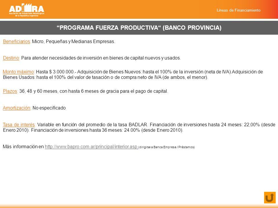 Líneas de Financiamiento PROGRAMA FUERZA PRODUCTIVA (BANCO PROVINCIA) Beneficiarios: Micro, Pequeñas y Medianas Empresas.
