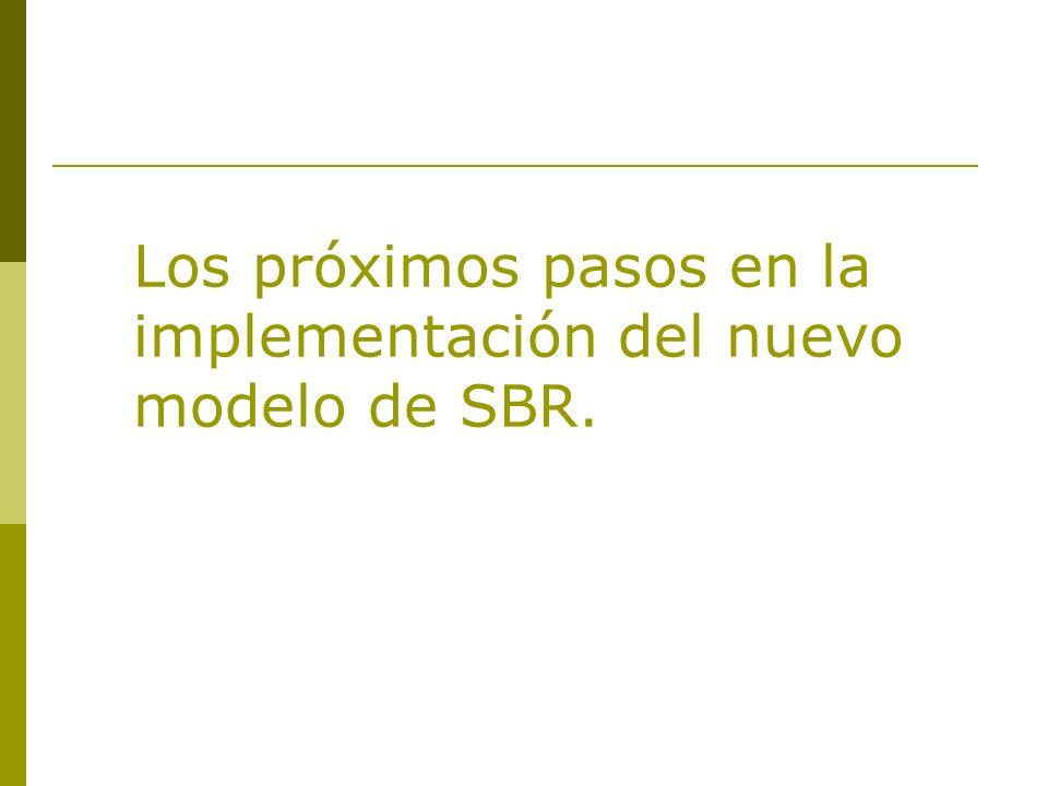 Los próximos pasos en la implementación del nuevo modelo de SBR.