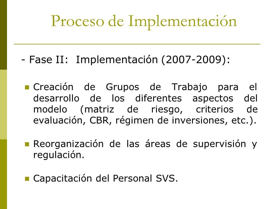- Fase II: Implementación (2007-2009): Creación de Grupos de Trabajo para el desarrollo de los diferentes aspectos del modelo (matriz de riesgo, crite