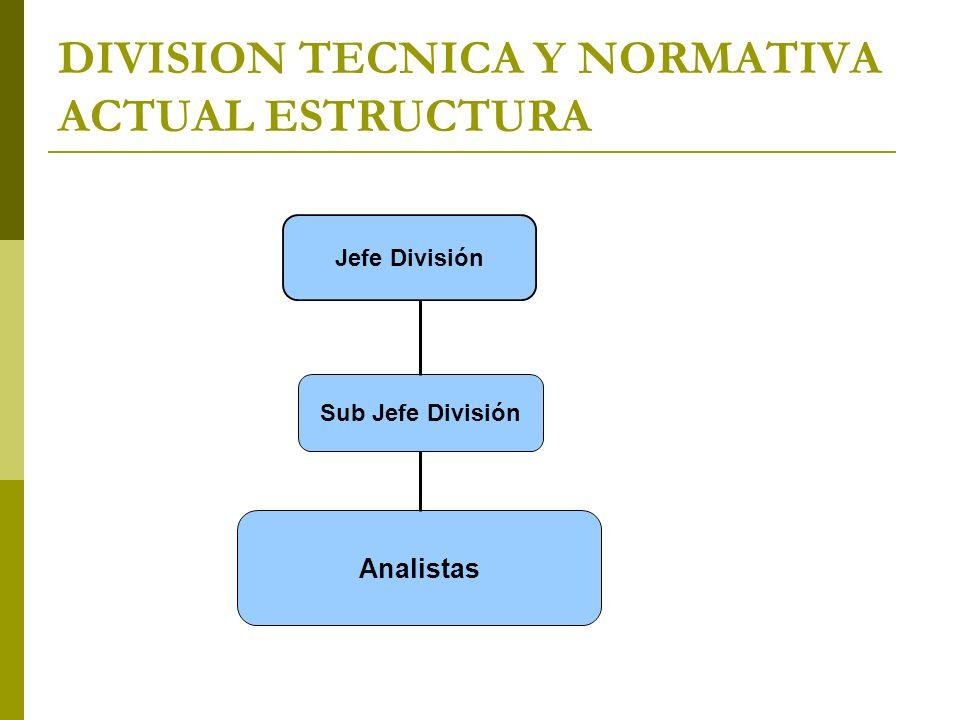 DIVISION TECNICA Y NORMATIVA ACTUAL ESTRUCTURA Sub Jefe División Analistas