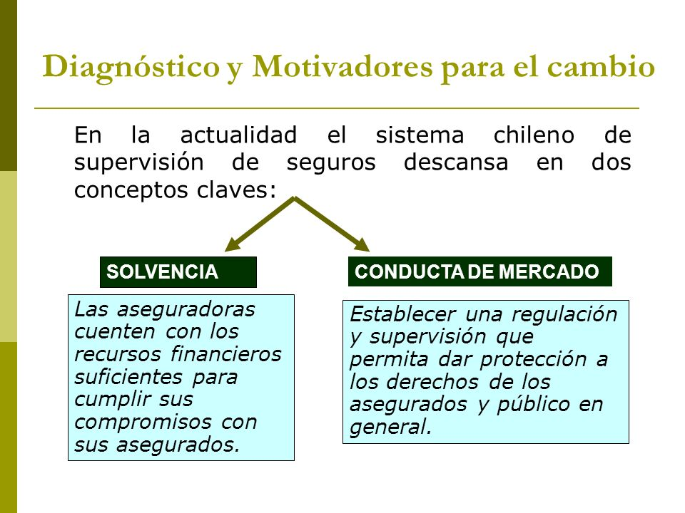 En la actualidad el sistema chileno de supervisión de seguros descansa en dos conceptos claves: Las aseguradoras cuenten con los recursos financieros