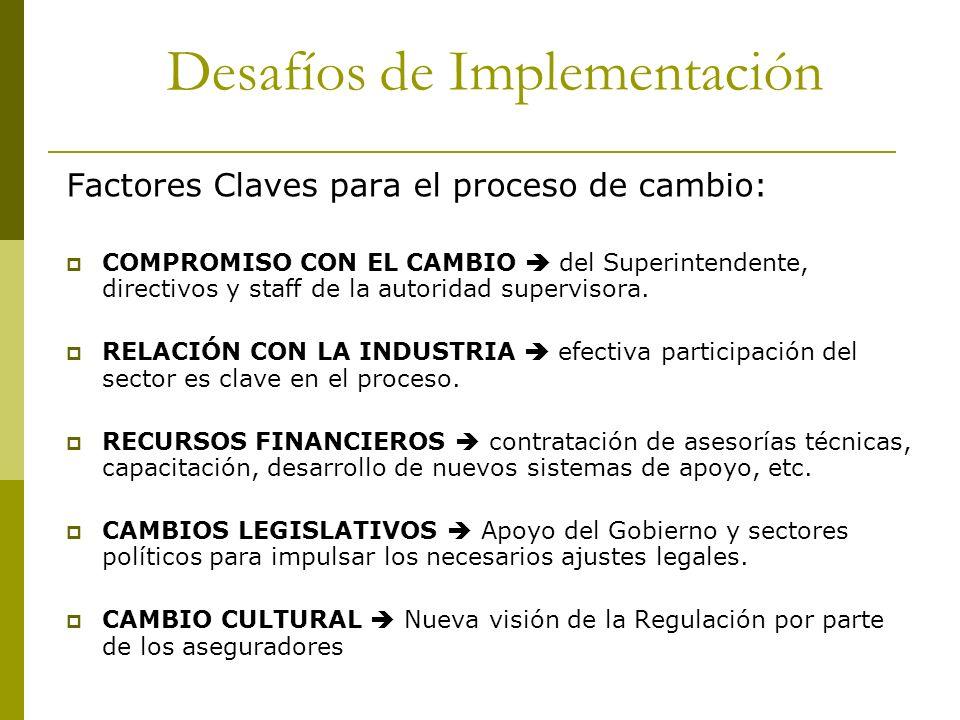 Factores Claves para el proceso de cambio: COMPROMISO CON EL CAMBIO del Superintendente, directivos y staff de la autoridad supervisora. RELACIÓN CON