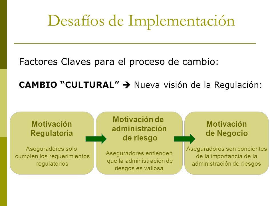 Factores Claves para el proceso de cambio: CAMBIO CULTURAL Nueva visión de la Regulación: Desafíos de Implementación Motivación Regulatoria Asegurador