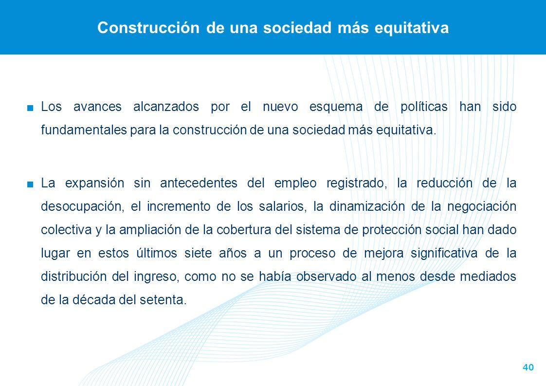 40 Construcción de una sociedad más equitativa Los avances alcanzados por el nuevo esquema de políticas han sido fundamentales para la construcción de una sociedad más equitativa.