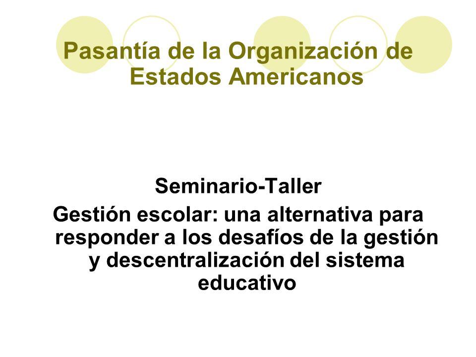 Pasantía de la Organización de Estados Americanos Seminario-Taller Gestión escolar: una alternativa para responder a los desafíos de la gestión y desc