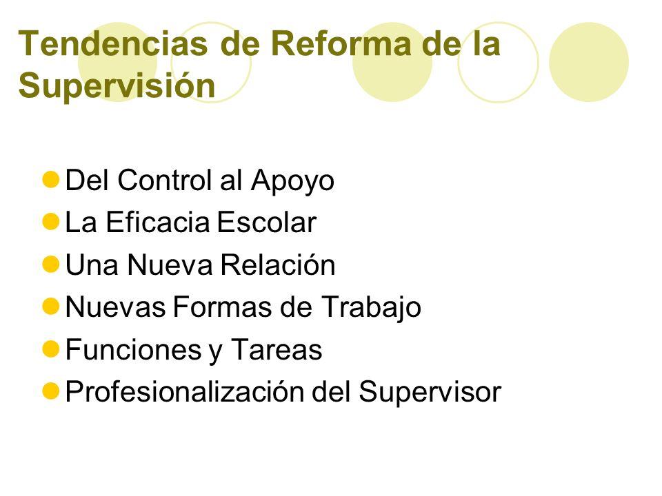 Tendencias de Reforma de la Supervisión Del Control al Apoyo La Eficacia Escolar Una Nueva Relación Nuevas Formas de Trabajo Funciones y Tareas Profes