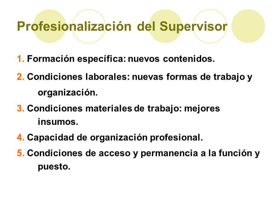 Profesionalización del Supervisor 1. Formación específica: nuevos contenidos. 2. Condiciones laborales: nuevas formas de trabajo y organización. 3. Co