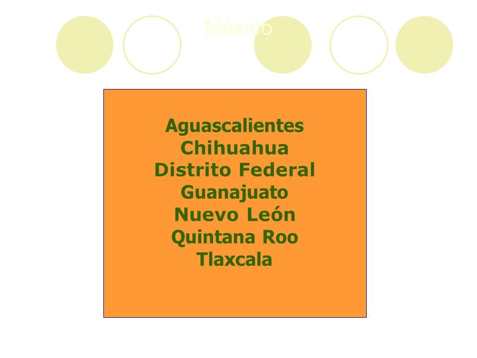 México Aguascalientes Chihuahua Distrito Federal Guanajuato Nuevo León Quintana Roo Tlaxcala
