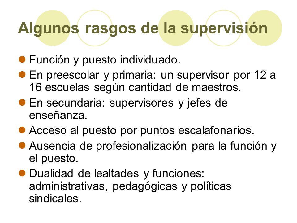 Algunos rasgos de la supervisión Función y puesto individuado. En preescolar y primaria: un supervisor por 12 a 16 escuelas según cantidad de maestros