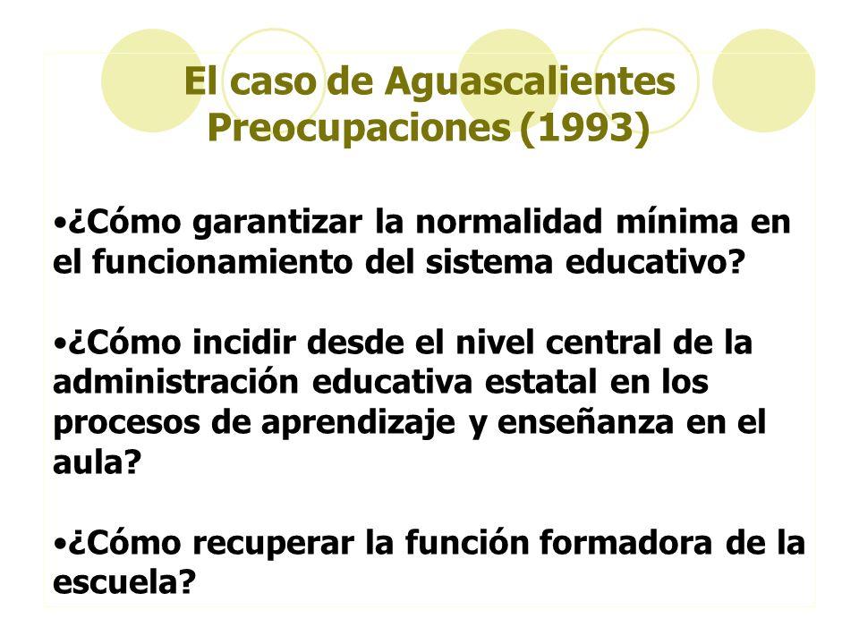 El caso de Aguascalientes Preocupaciones (1993) ¿Cómo garantizar la normalidad mínima en el funcionamiento del sistema educativo? ¿Cómo incidir desde