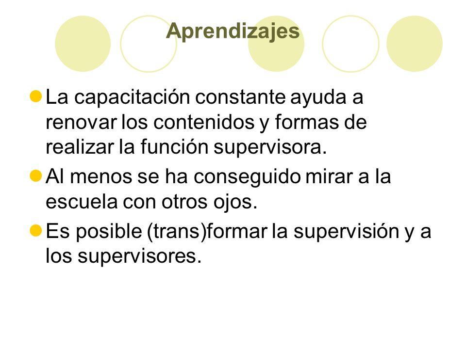 Aprendizajes La capacitación constante ayuda a renovar los contenidos y formas de realizar la función supervisora. Al menos se ha conseguido mirar a l