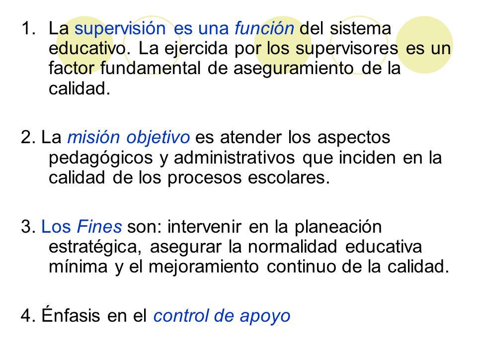 1.La supervisión es una función del sistema educativo. La ejercida por los supervisores es un factor fundamental de aseguramiento de la calidad. 2. La