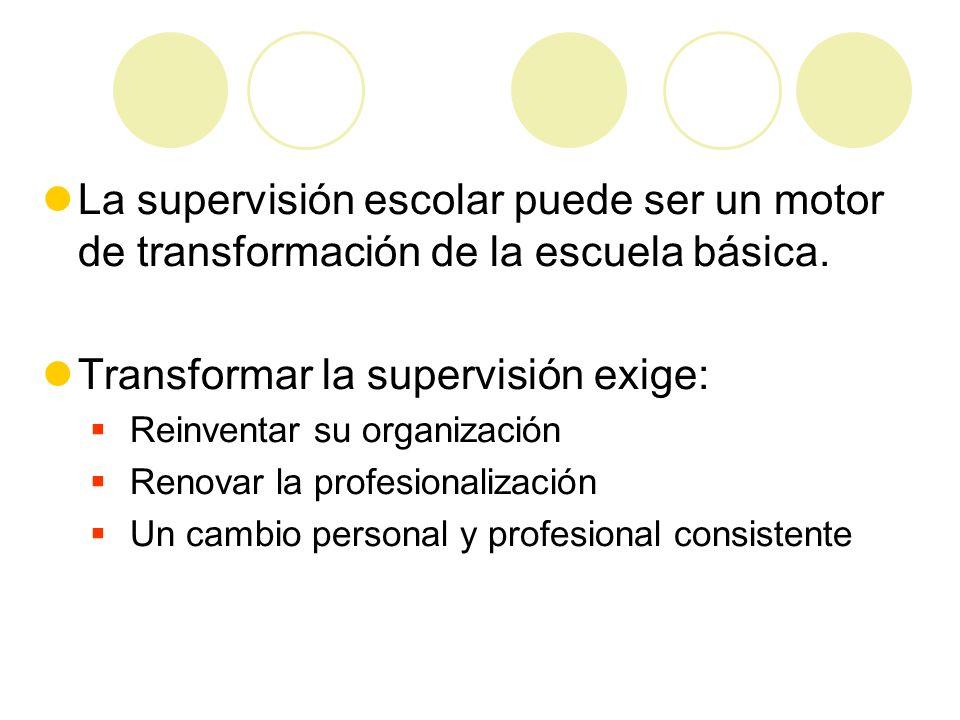 La supervisión escolar puede ser un motor de transformación de la escuela básica. Transformar la supervisión exige: Reinventar su organización Renovar