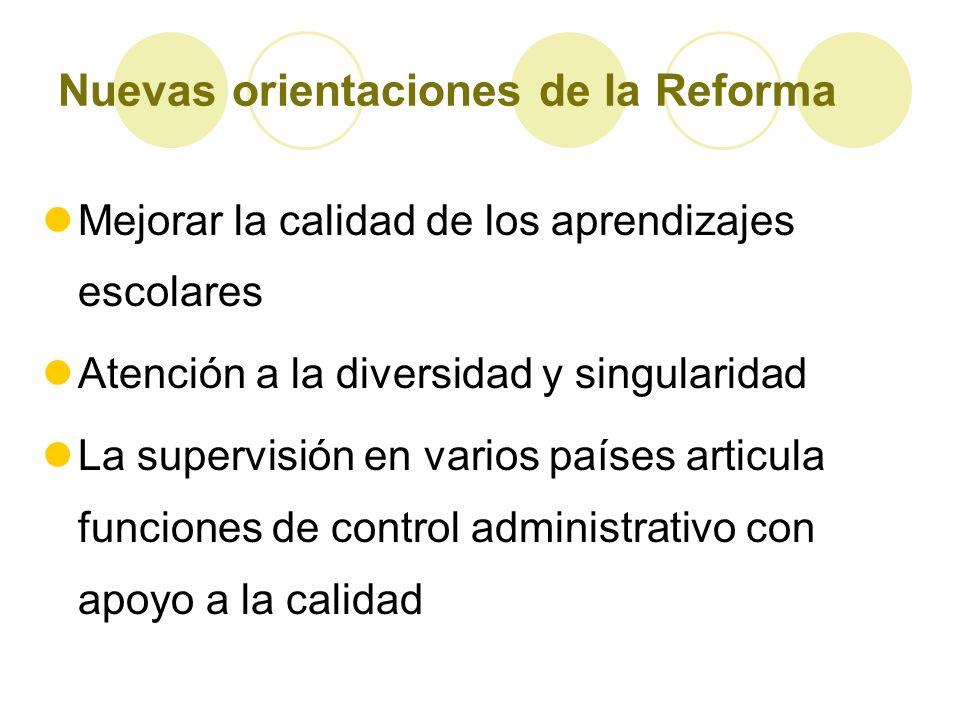 Nuevas orientaciones de la Reforma Mejorar la calidad de los aprendizajes escolares Atención a la diversidad y singularidad La supervisión en varios p
