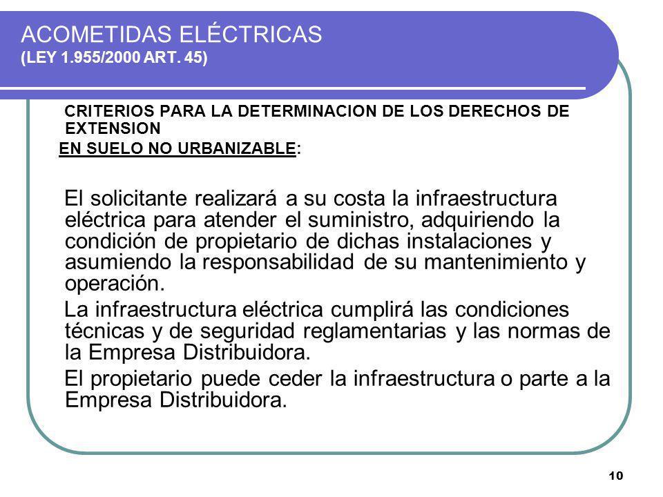 10 ACOMETIDAS ELÉCTRICAS (LEY 1.955/2000 ART. 45) CRITERIOS PARA LA DETERMINACION DE LOS DERECHOS DE EXTENSION EN SUELO NO URBANIZABLE: El solicitante