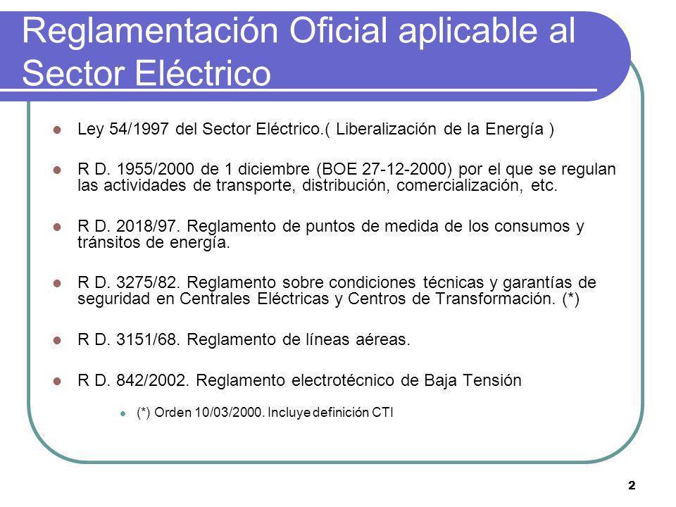 2 Reglamentación Oficial aplicable al Sector Eléctrico Ley 54/1997 del Sector Eléctrico.( Liberalización de la Energía ) R D. 1955/2000 de 1 diciembre