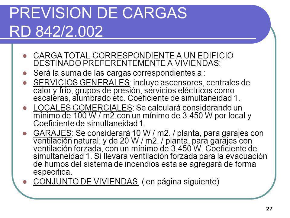 27 PREVISION DE CARGAS RD 842/2.002 CARGA TOTAL CORRESPONDIENTE A UN EDIFICIO DESTINADO PREFERENTEMENTE A VIVIENDAS: Será la suma de las cargas corres