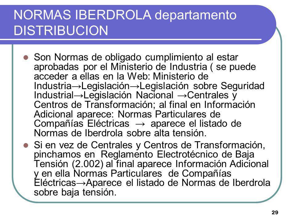 29 NORMAS IBERDROLA departamento DISTRIBUCION Son Normas de obligado cumplimiento al estar aprobadas por el Ministerio de Industria ( se puede acceder