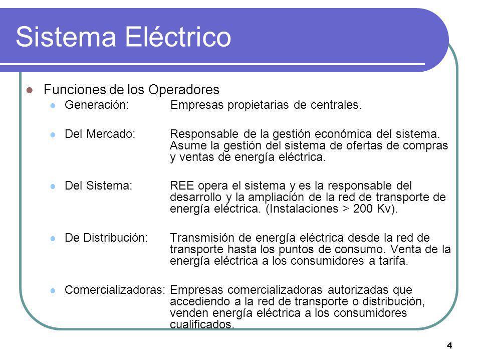 4 Sistema Eléctrico Funciones de los Operadores Generación: Empresas propietarias de centrales. Del Mercado: Responsable de la gestión económica del s