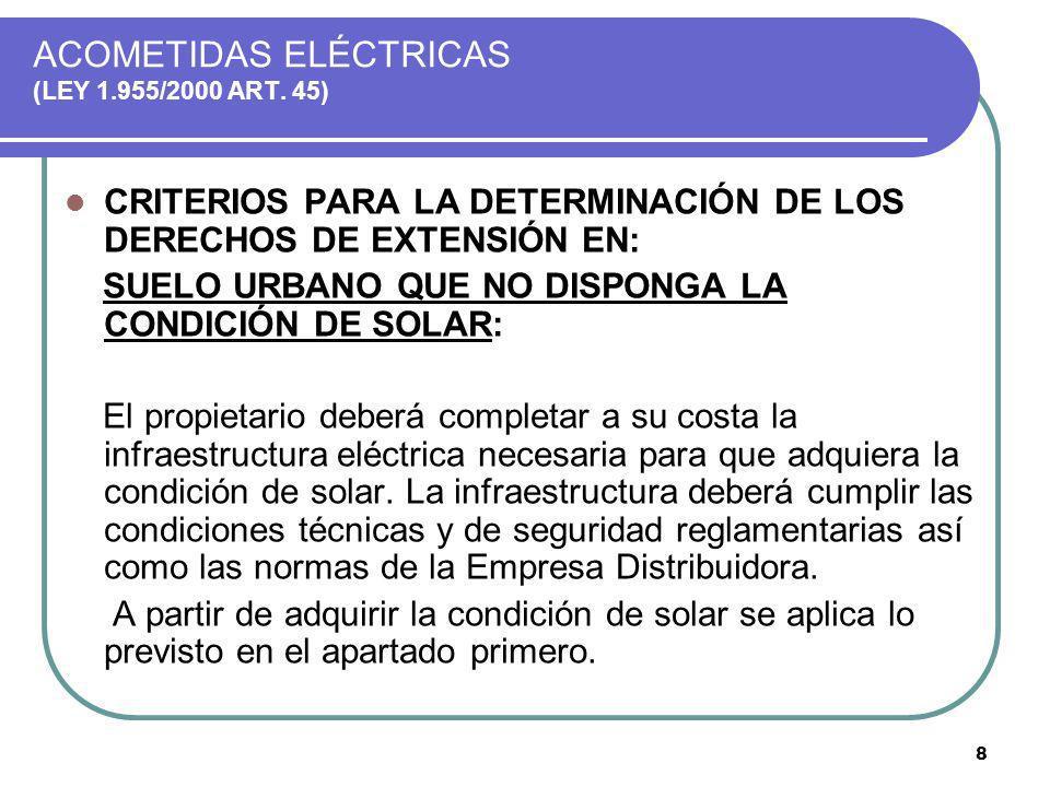 8 ACOMETIDAS ELÉCTRICAS (LEY 1.955/2000 ART. 45) CRITERIOS PARA LA DETERMINACIÓN DE LOS DERECHOS DE EXTENSIÓN EN: SUELO URBANO QUE NO DISPONGA LA COND