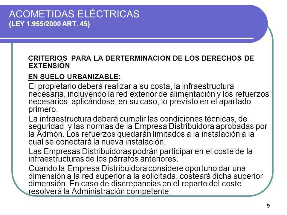 9 ACOMETIDAS ELÉCTRICAS (LEY 1.955/2000 ART. 45) CRITERIOS PARA LA DERTERMINACION DE LOS DERECHOS DE EXTENSIÓN EN SUELO URBANIZABLE: El propietario de