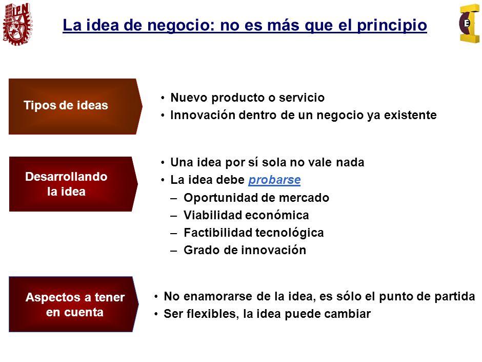 La idea de negocio: no es más que el principio No enamorarse de la idea, es sólo el punto de partida Ser flexibles, la idea puede cambiar Aspectos a tener en cuenta Tipos de ideas Nuevo producto o servicio Innovación dentro de un negocio ya existente Desarrollando la idea Una idea por sí sola no vale nada La idea debe probarse – Oportunidad de mercado – Viabilidad económica – Factibilidad tecnológica – Grado de innovación