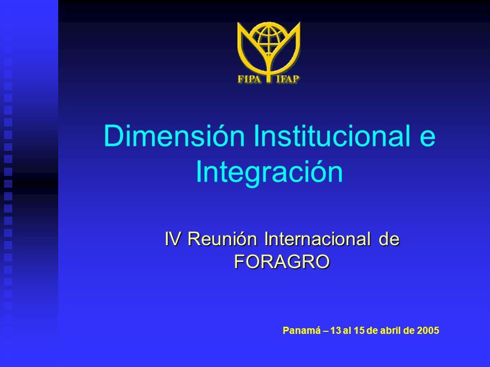 Dimensión Institucional e Integración IV Reunión Internacional de FORAGRO Panamá – 13 al 15 de abril de 2005