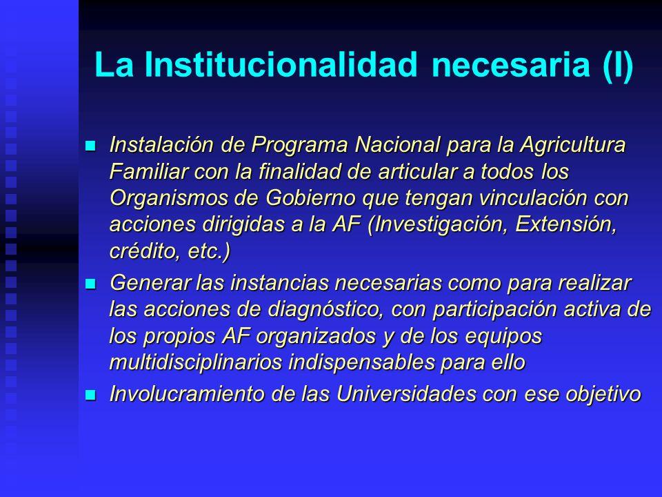 La Institucionalidad necesaria (I) Instalación de Programa Nacional para la Agricultura Familiar con la finalidad de articular a todos los Organismos