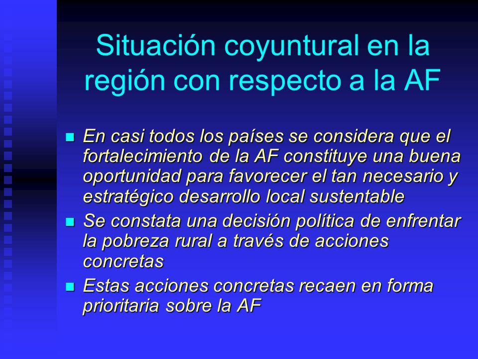 Situación coyuntural en la región con respecto a la AF En casi todos los países se considera que el fortalecimiento de la AF constituye una buena opor