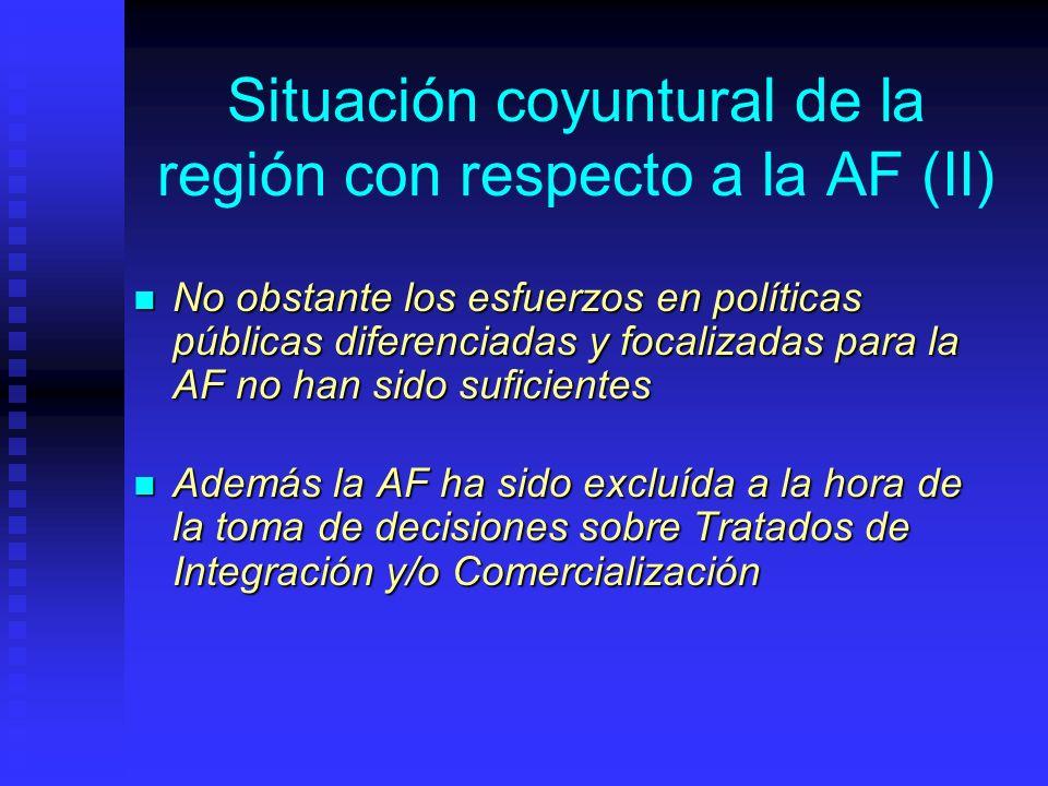 Situación coyuntural de la región con respecto a la AF (II) No obstante los esfuerzos en políticas públicas diferenciadas y focalizadas para la AF no han sido suficientes No obstante los esfuerzos en políticas públicas diferenciadas y focalizadas para la AF no han sido suficientes Además la AF ha sido excluída a la hora de la toma de decisiones sobre Tratados de Integración y/o Comercialización Además la AF ha sido excluída a la hora de la toma de decisiones sobre Tratados de Integración y/o Comercialización