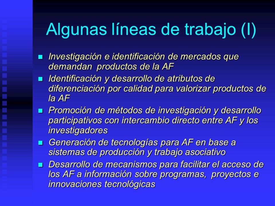 Algunas líneas de trabajo (I) Investigación e identificación de mercados que demandan productos de la AF Investigación e identificación de mercados qu