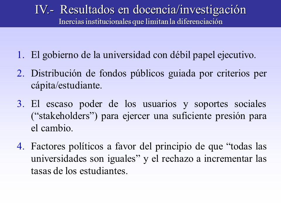 IV.- Resultados en docencia/investigación Inercias institucionales que limitan la diferenciación 1.El gobierno de la universidad con débil papel ejecu