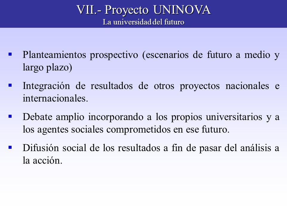 VII.- Proyecto UNINOVA La universidad del futuro Planteamientos prospectivo (escenarios de futuro a medio y largo plazo) Integración de resultados de