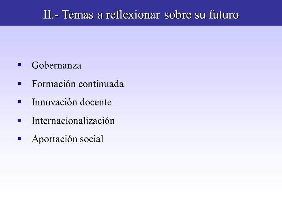 II.- Temas a reflexionar sobre su futuro Gobernanza Formación continuada Innovación docente Internacionalización Aportación social