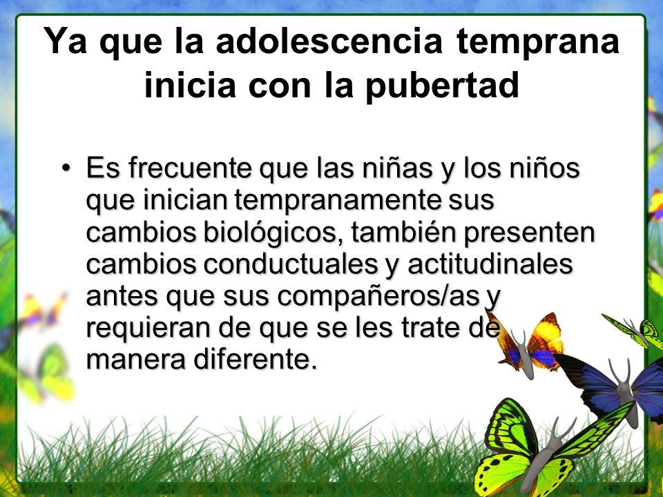 Ya que la adolescencia temprana inicia con la pubertad Es frecuente que las niñas y los niños que inician tempranamente sus cambios biológicos, tambié